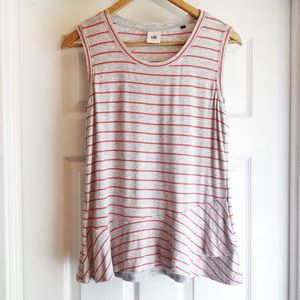 CAbi Gray Red Striped Sleevless Ruffle Top Small